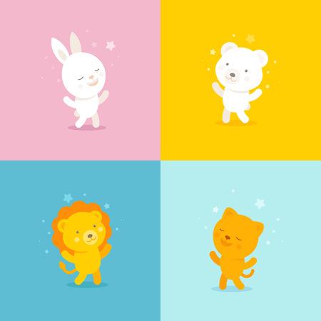 leon bebe: Logo vector plantilla de dise�o en estilo plana - conjunto de iconos y caracteres para tiendas cabrito y ni�os y productos - conejo, gato, oso y le�n