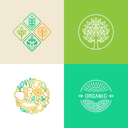 logo de comida: Vector lineal plantilla de diseño de logotipos e insignias - alimentación y agricultura ecológica - conceptos de alimentos verdes y veganas