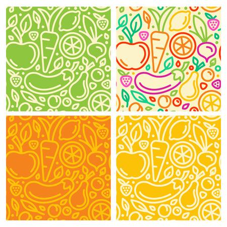 Vector naadloze patronen en abstracte achtergronden met trendy lineaire stijl - biologisch voedsel en gezonde producten Stock Illustratie