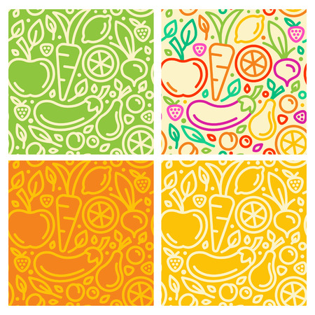 Vector seamless patterns and abstract  backgrounds with trendy linear style - organic food and healthy products Illustration