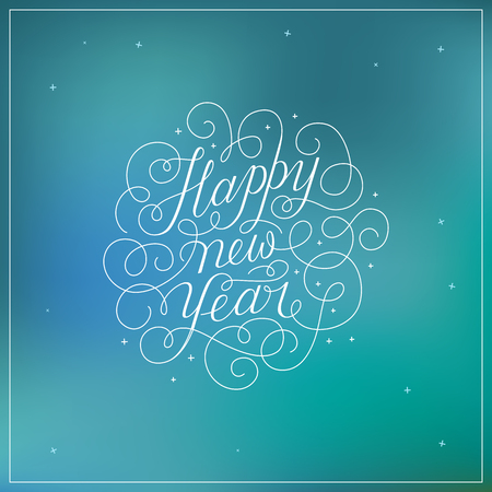 holidays and celebrations: Happy new year - greeting card with hand-lettering type in calligraphic style with linear swirls and flourishes - vector illustration in white colors on blue background