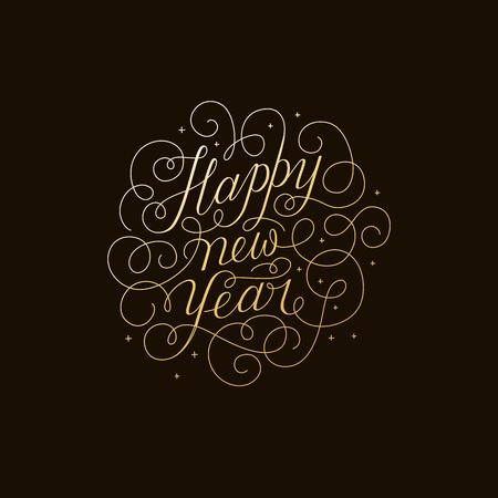 黒の背景に、金色に新年あけましておめでとうございます - 線形渦と活気づく篆書の手レタリング タイプとグリーティング カード - ベクトル図  イラスト・ベクター素材