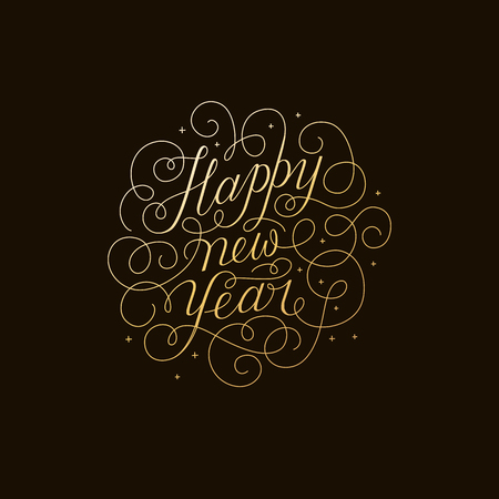 Happy new year - greeting card with hand-lettering type in calligraphic style with linear swirls and flourishes - vector illustration in golden colors on black background Illustration