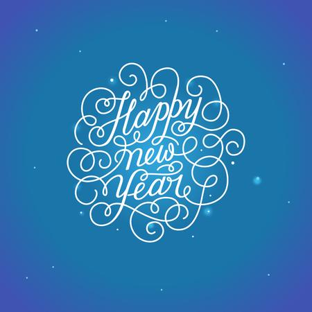 Gelukkig Nieuwjaar - wenskaart met type hand belettering in kalligrafische stijl met lineaire wervelingen en bloeit - vector illustratie in witte kleuren op een blauwe achtergrond