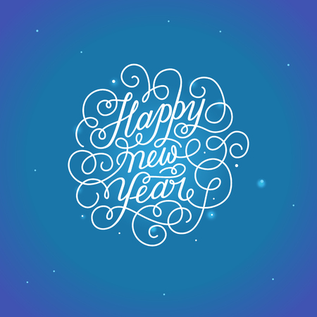 Happy new year - greeting card with hand-lettering type in calligraphic style with linear swirls and flourishes - vector illustration in white colors on blue background