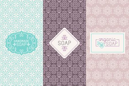 productos de belleza: Un conjunto de patrones sin fisuras, etiquetas lineales y plantillas de diseño insignia línea mono para hecho a mano envases de jabón y papel de regalo vector