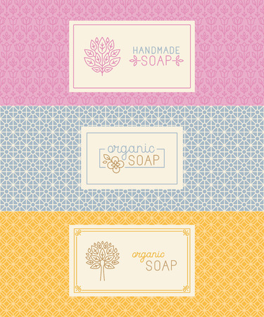 handmade soap: Vector set of seamless patterns, linear labels and mono line logo design templates for hand made soap packaging and wrapping paper