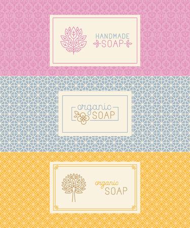 Vector set van naadloze patronen, lineaire etiketten en mono lijn logo ontwerpsjablonen voor handgemaakte zeep verpakking en inpakpapier Stockfoto - 46725794