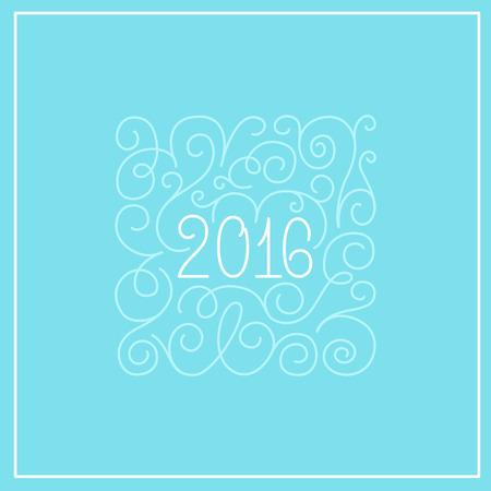 2016 - greeting card with hand-lettering tvector illustration in white colors on blue background