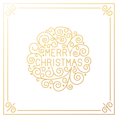 Vector merry christmas hand lettering in outline style - greeting card with decorative typography and line flourishes in golden colors on white background