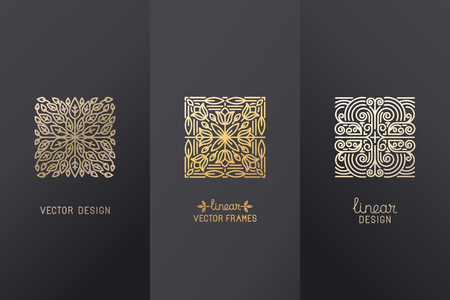 Vector set of linear design elements, logo design templates and mono line badges for packaging - abstract concepts for luxury products and services - emblems in golden foil style on  black background Çizim