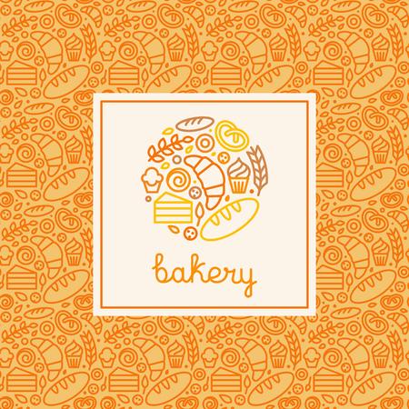 panadero: Logo Vector diseño elemtent hecho con iconos lineales - conceptos de panadería y menú abarca en estilo lineal moderno con iconos outlne
