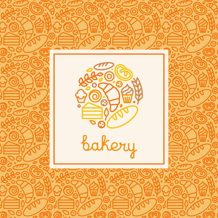 tea and biscuits: Vector logo design elemtent made with linear icons - bakery concepts and menu covers in trendy linear style with outlne icons