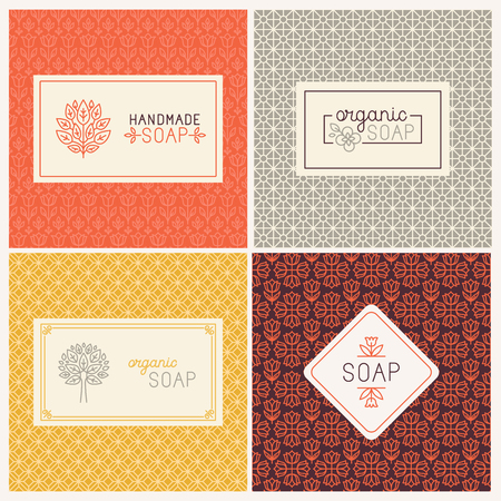 product packaging: Vector set of seamless patterns, linear labels and mono line logo design templates for hand made soap packaging and wrapping paper