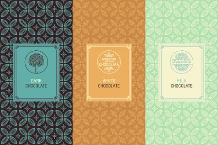 etiqueta: Vector conjunto de elementos de diseño y patrón transparente para el envasado de chocolate - etiquetas y fondo en el estilo lineal tredny -, chocolate blanco y leche oscuro