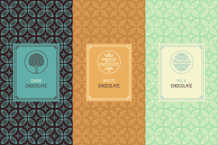 Vector set of design elements and seamless pattern for chocolate packaging - labels and background in tredny linear style - dark, white and milk chocolate