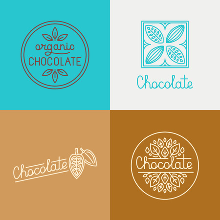 trendy: Vector logo design concepts and templates in trendy linear style for chocolate packaging