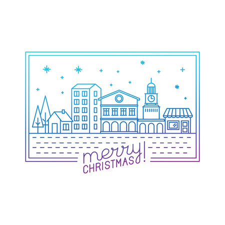 hand outline: Vector merry christmas hand lettering in outline style - greeting card with decorative typography and city illustration