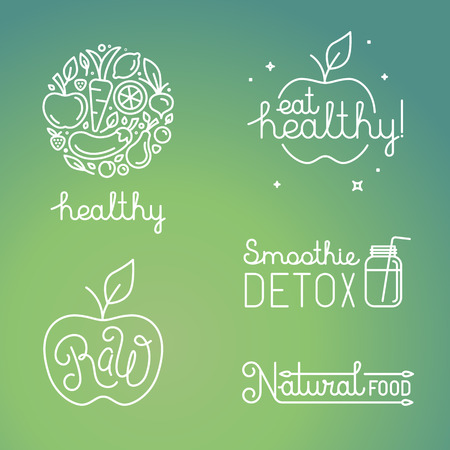 comida: Vector sanos conceptos de alimentos y frutas orgánicas y plantillas de diseño de logotipo en el estilo lineal de moda - iconos, signos y emblemas relacionados con vegana y alimentos orgánicos crudos