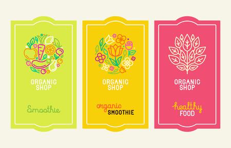 Vector ensemble des éléments de conception, des icônes et de la main-lettrage de style à la mode linéaire - logo modèles de conception et des concepts pour l'emballage et les étiquettes pour les jus de fruits frais, l'alimentation de smoothie et aliments sains Illustration
