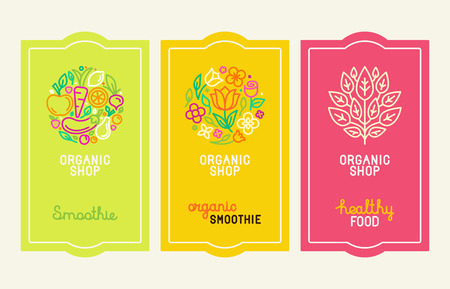 packaging design: Vector set of design elements, icons and hand-lettering in trendy linear style - logo design templates and concepts for packaging and labels for fresh juices, diet smoothie and healthy food Illustration
