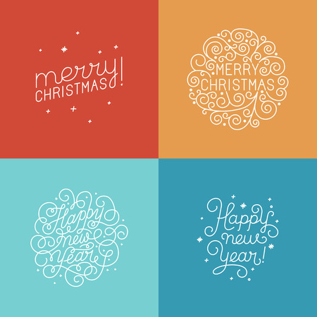 titles: Vector set of hand-lettering and titles for greeting cards in trendy linear style - happy new year and merry christmas