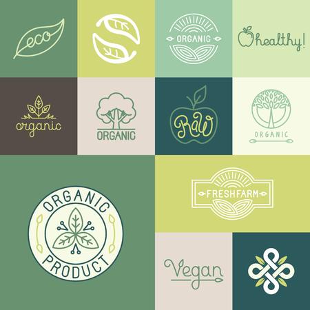 ナチュラル、オーガニック、ビーガン バッジとトレンディな線形やフラットなスタイルの新鮮なと健康製品のエンブレム、アイコン デザイン要素の