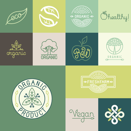 Vector set van natuurlijke, biologische, veganistisch badges en logo design templates in de trendy lineaire en vlakke stijl - collectie van design elementen, pictogrammen en emblemen voor verse en gezonde producten Stock Illustratie