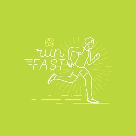 gente corriendo: corriendo vector deporte y la motivaci�n del cartel y la bandera en el estilo lineal de moda con el texto a mano las letras - correr r�pido y la ilustraci�n de un hombre