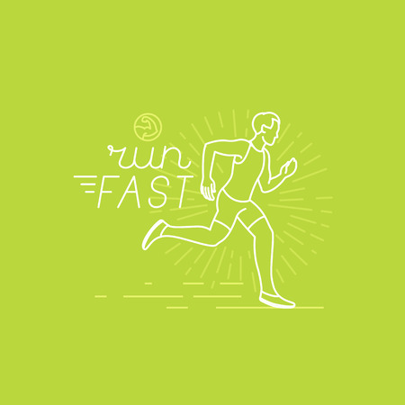 Vector running and sport motivation poster and banner in trendy linear style with hand-lettering text - run fast and illustration of a man Иллюстрация