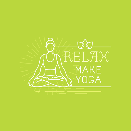 relax: Vector yoga and sport motivation banner and poster in trendy linear style with hand-lettering text - relax, make yoga - woman icon in lotus pose