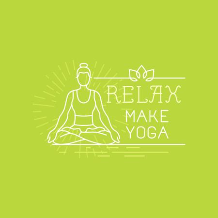 dessin au trait: Vector yoga et la motivation sportive bannière et affiche dans le style linéaire à la mode avec le texte à la main lettrage - se détendre, faire du yoga - femme icône dans lotus pose