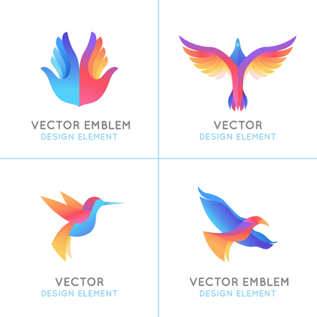 paloma de la paz: Conjunto del vector de la pendiente del extracto emblemas de plantillas de diseño - los pájaros y las alas - conceptos de libertad y signos