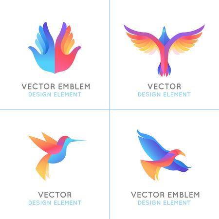 tatouage oiseau: Vector set of gradient abstract embl�mes mod�les de conception - des oiseaux et des ailes - concepts de la libert� et des signes