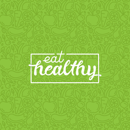 background card: Eat healthy - motivational poster or banner with hand-lettering phrase eat healthy on green background with trendy linear icons and signs of fruits and vegetables - vector illustration
