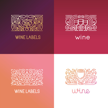 Vector set of   design elements and signs for wine - packagin design and icons - badges for label in trendy linear style
