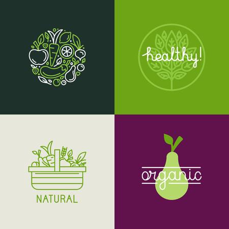 Vecteur modèle de conception avec des fruits et légumes icônes de style branché linéaire - emblème abstrait pour magasin bio, magasin d'aliments santé ou un café végétarien