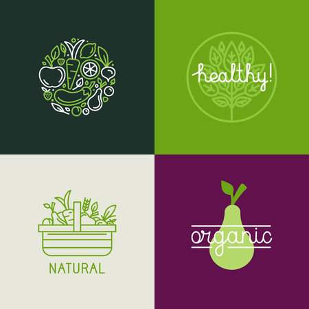 saludable: Vector plantilla de diseño con iconos de frutas y hortalizas en estilo lineal moda - emblema abstracto para la tienda orgánica, tienda de alimentos saludables o café vegetariano