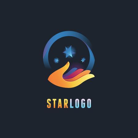 conocimiento: Vector resumen emblema y plantilla de diseño del logotipo en colores de degradado - iconos de la mano con las estrellas - los conocimientos y conceptos mágicos