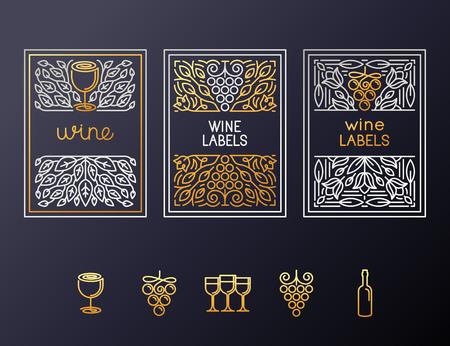 텍스트 복사 공간 아이콘 및 프레임 - 디자인 요소와 아이콘 와인 포장 및 라벨의 벡터 집합