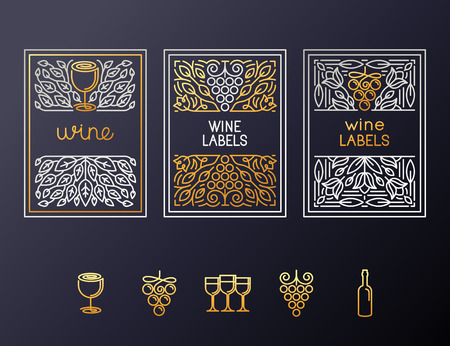 glass wine: Vector set of design elements and icons for wine packaging and labels - icons and frames with copy space for text