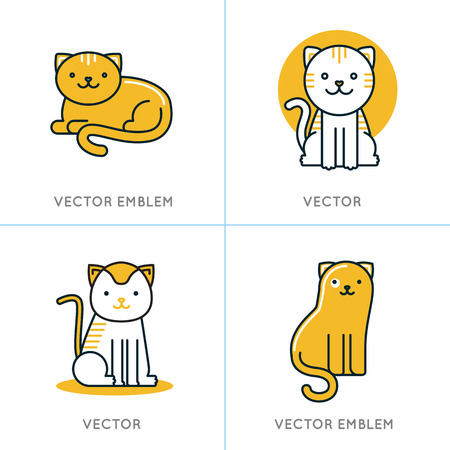 animals and pets: Vector set of icons and illustrations in trendy linear style - smiling and friendly cats - logo design templates for pet shops, stores or shelters