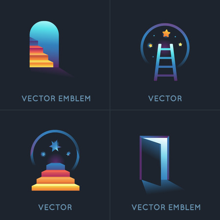 strat: Vector set of abstract concepts and logo design elements in bright gradinet colors - embelms for new businesses, strat ups, educational projects