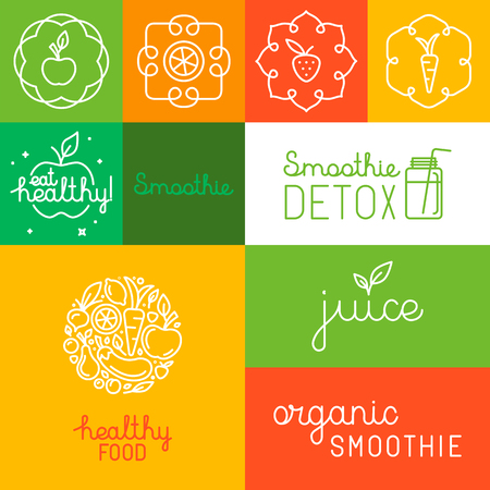jugos: Vector conjunto de iconos, elementos de diseño y mano-letras en el estilo lineal de moda para jugo orgánico y natural y envasado batido - etiquetas y plantillas de diseño de logotipo
