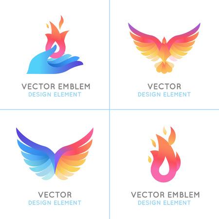 armonia: Vector conjunto de conceptos abstractos, los conceptos de diseño de logotipo y emblemas en brillantes colores de degradado - aves fénix y los iconos de fuego