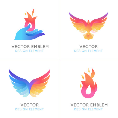 bird feathers: Vector set of abstract concepts, logo design concepts and emblems in bright gradient colors - phoenix birds and fire icons
