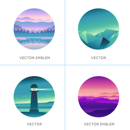 illustraiton: Vector abstract logo design templates with gradient landscapes and scenes - emblem and concepts in rpund shape
