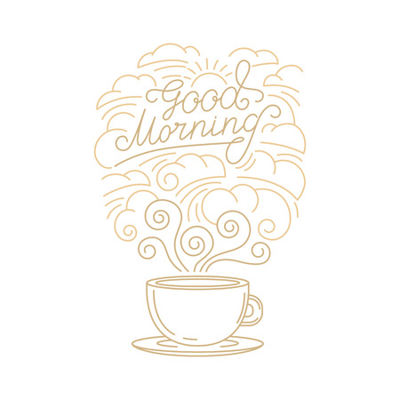 Vector greeting card, poster or placard design template in trendy linear style with hand-lettering phrase - good morning