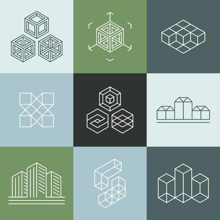 cantieri edili: Vector set di modelli di design in stile di tendenza lineare semplice - emblemi e le indicazioni per studi di architettura, designer di oggetti, artisti dei nuovi media e la realtà aumentata start-up