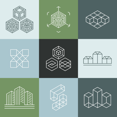 studio: Vector set of design templates in trendy simple linear style - emblems and signs for architecture studios, object designers, new media artists and augmented reality start-ups